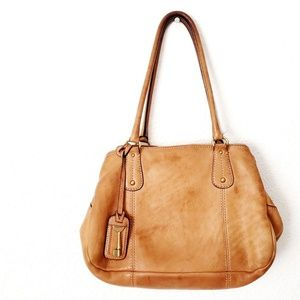 Fossil Brown/Tan Leather Shoulder Hand Bag Purse